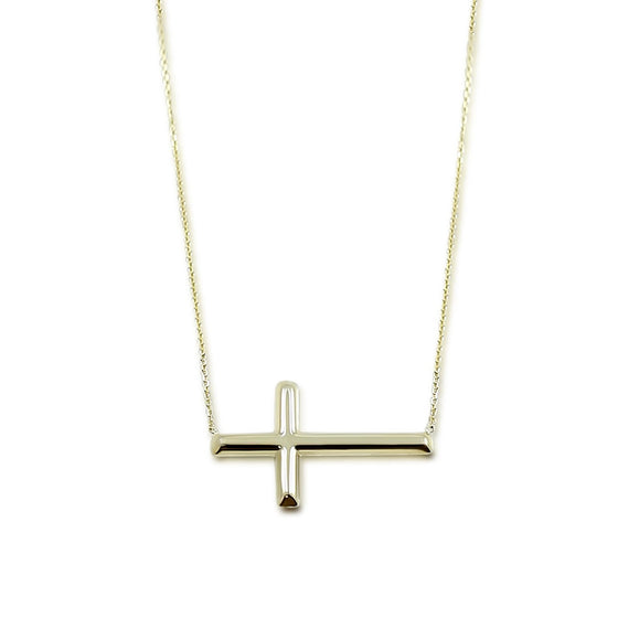 14k yellow white or rose gold east west set cross necklace with 18in chain