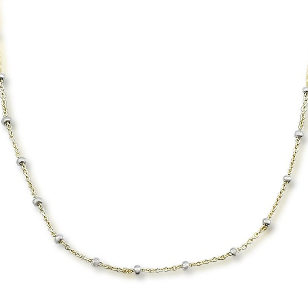16 inch 14k yellow and white gold beaded rosary chain