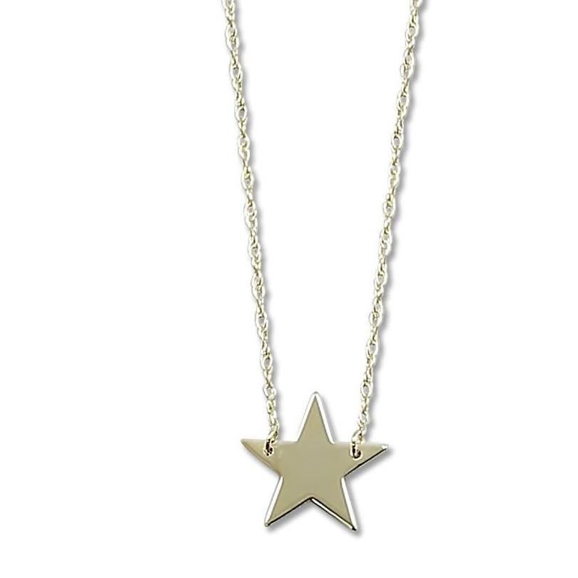 14k yellow gold layering star necklace with an 18 inch chain
