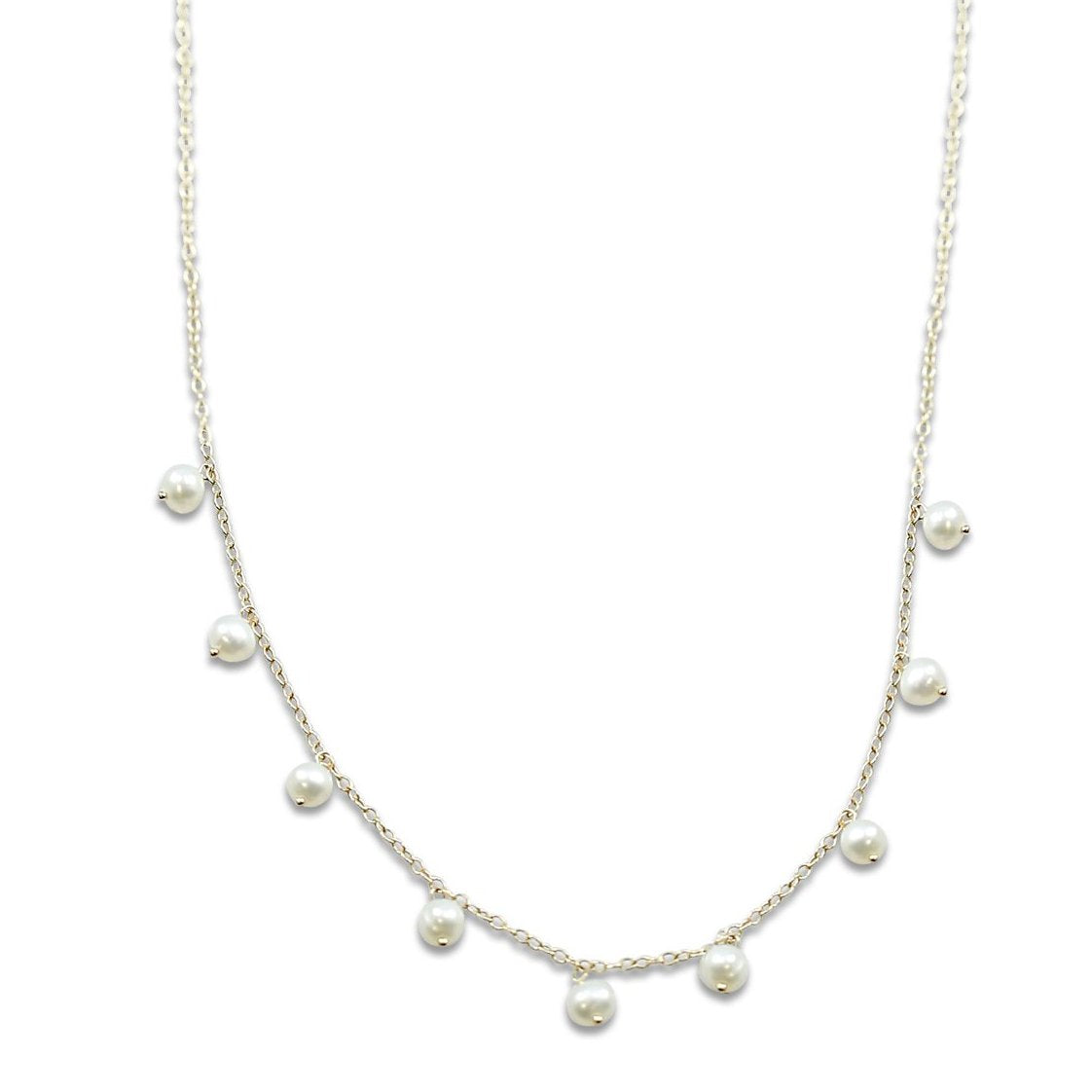 14k yellow gold freshwater pearl necklace with 9 pearls