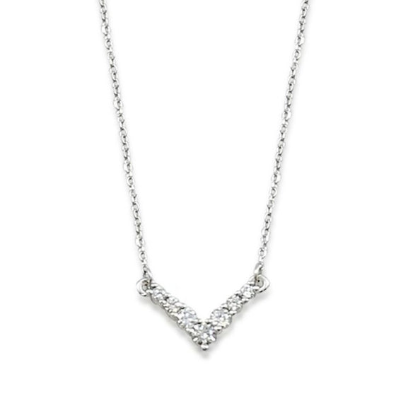 14k white gold diamond v necklace with 1/3tcw diamonds 18inch chain that is adjustable to 16in