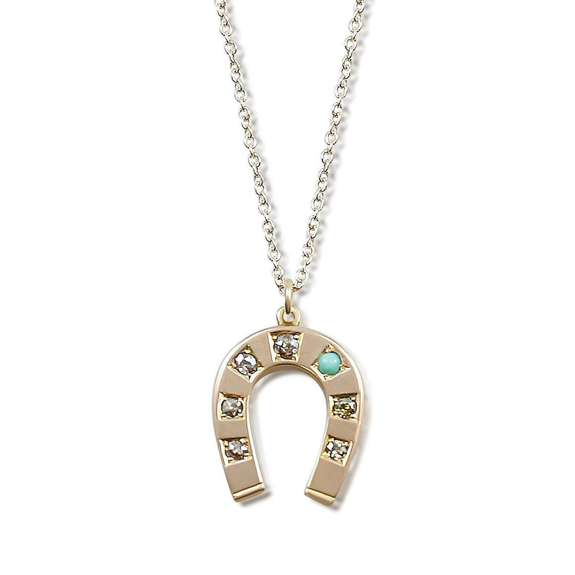 10k yellow gold victorian horse shoe pendant with old mine cut diamonds and a turquoise stone