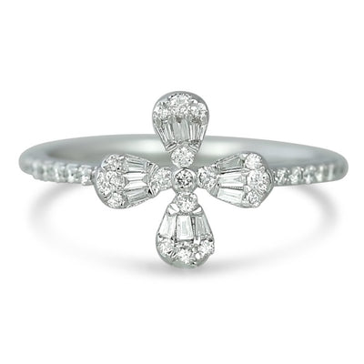 14k white gold four petal baguette and round diamonds