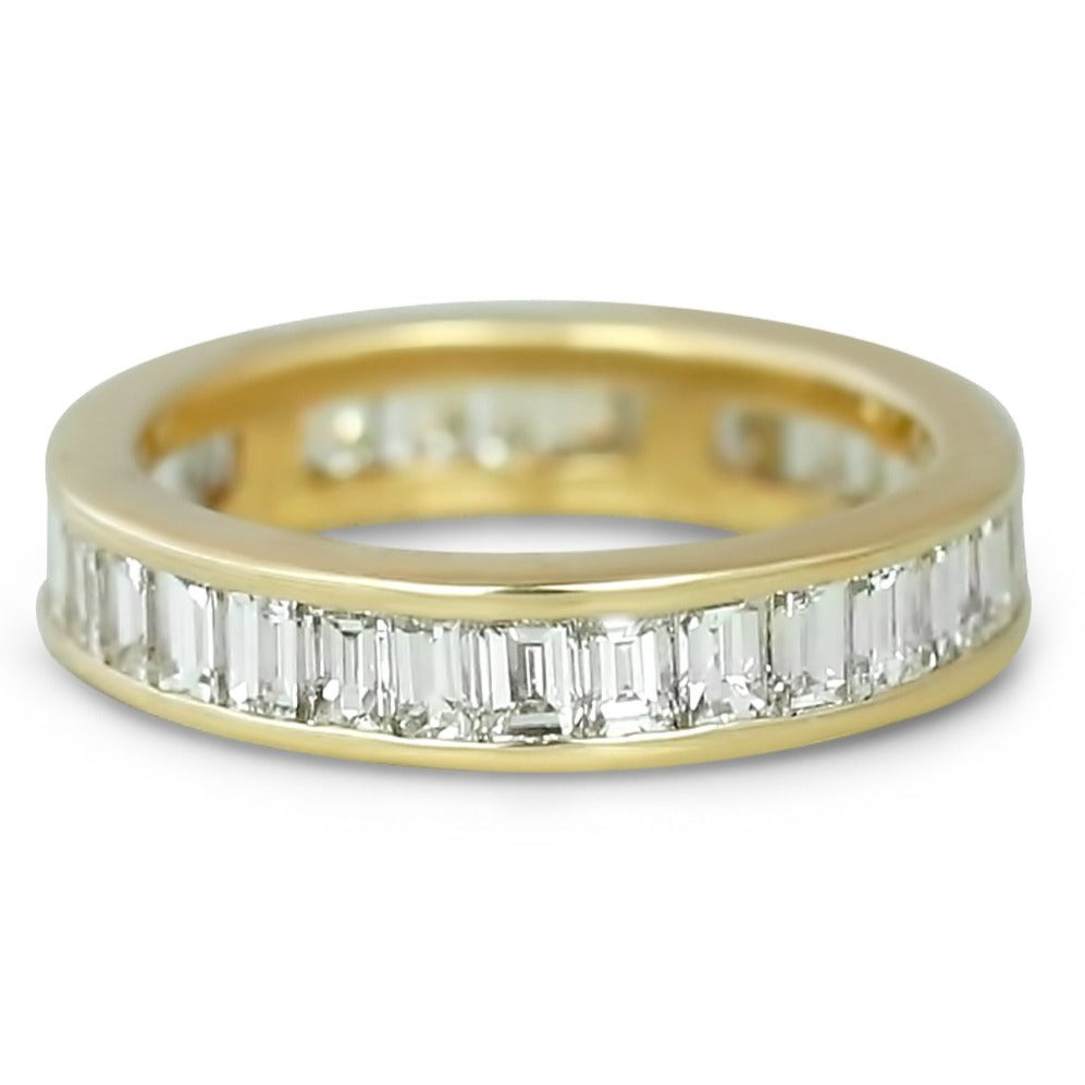 14k yellow gold emerald cut diamond estate eternity wedding band