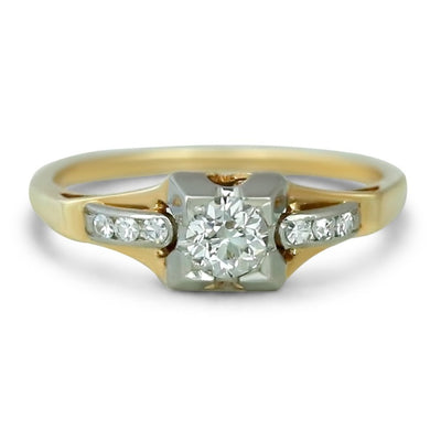18k white and yellow gold diamond estate engagement ring in a chunky setting with single cut side stones
