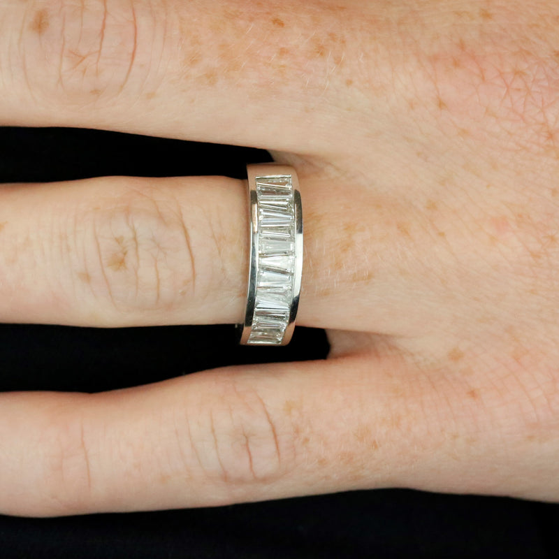 platinum tapered baguette diamond channel set estate band