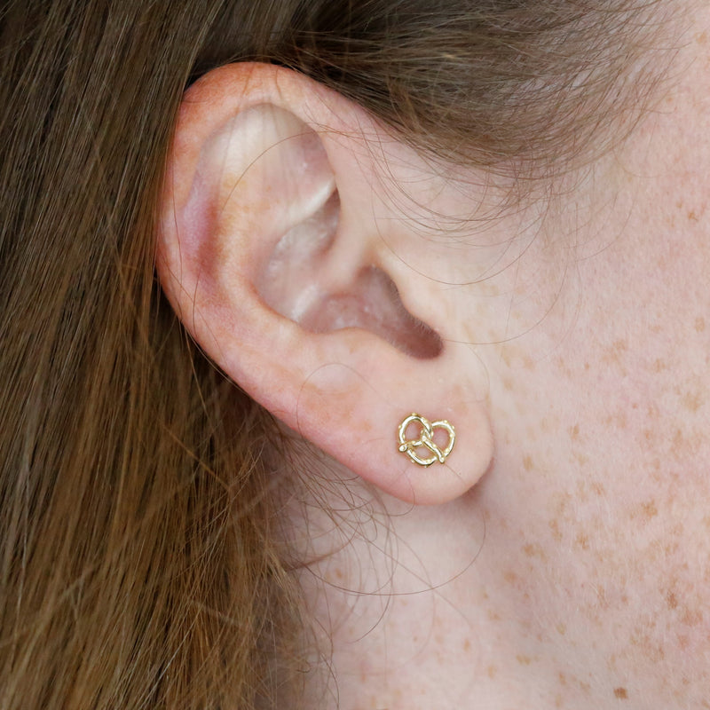 14k yellow or rose gold pretzel stud earrings