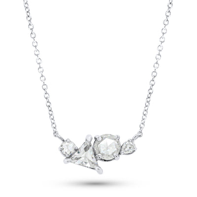 14k white gold rose cut diamond cluster necklace