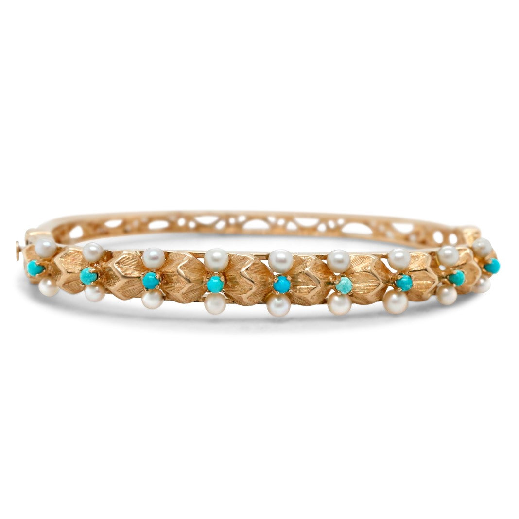14k yellow gold pearl and turquoise estate bangle with filigree details