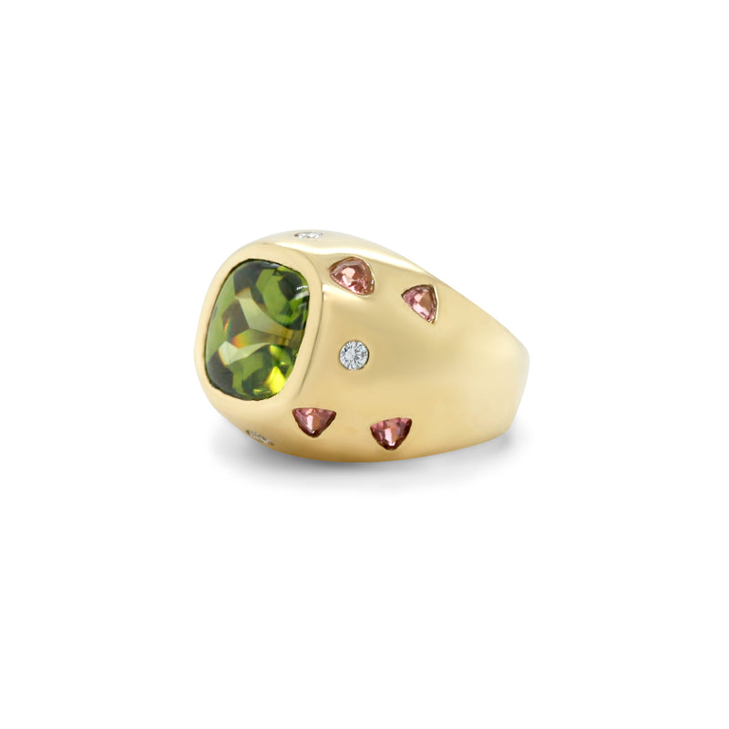 18k yellow gold green and pink tourmaline bezel set estate statement ring with round diamonds