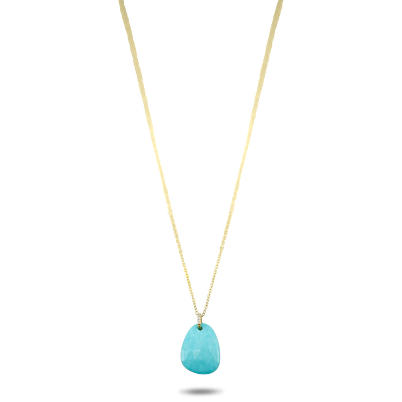 14k yellow gold turquoise slice necklace with diamonds and a 16-18 in chain