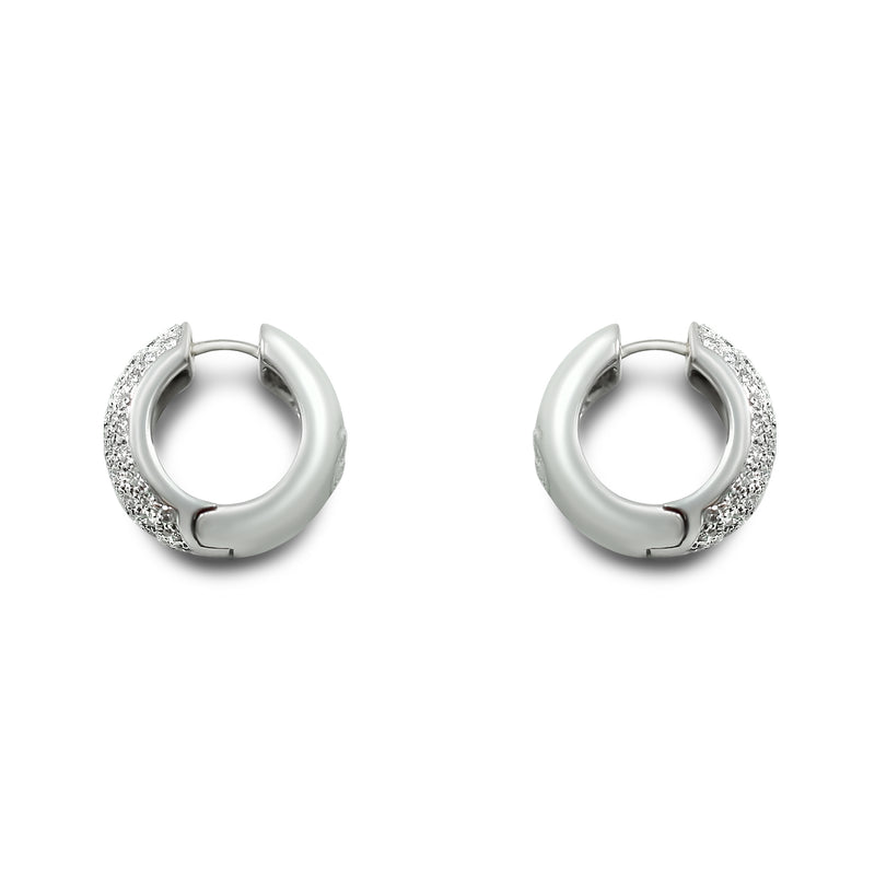 14k white gold estate diamond hoop earrings with 48 round diamonds