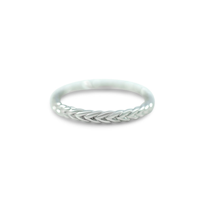 braided wedding band available in yellow, white or rose gold