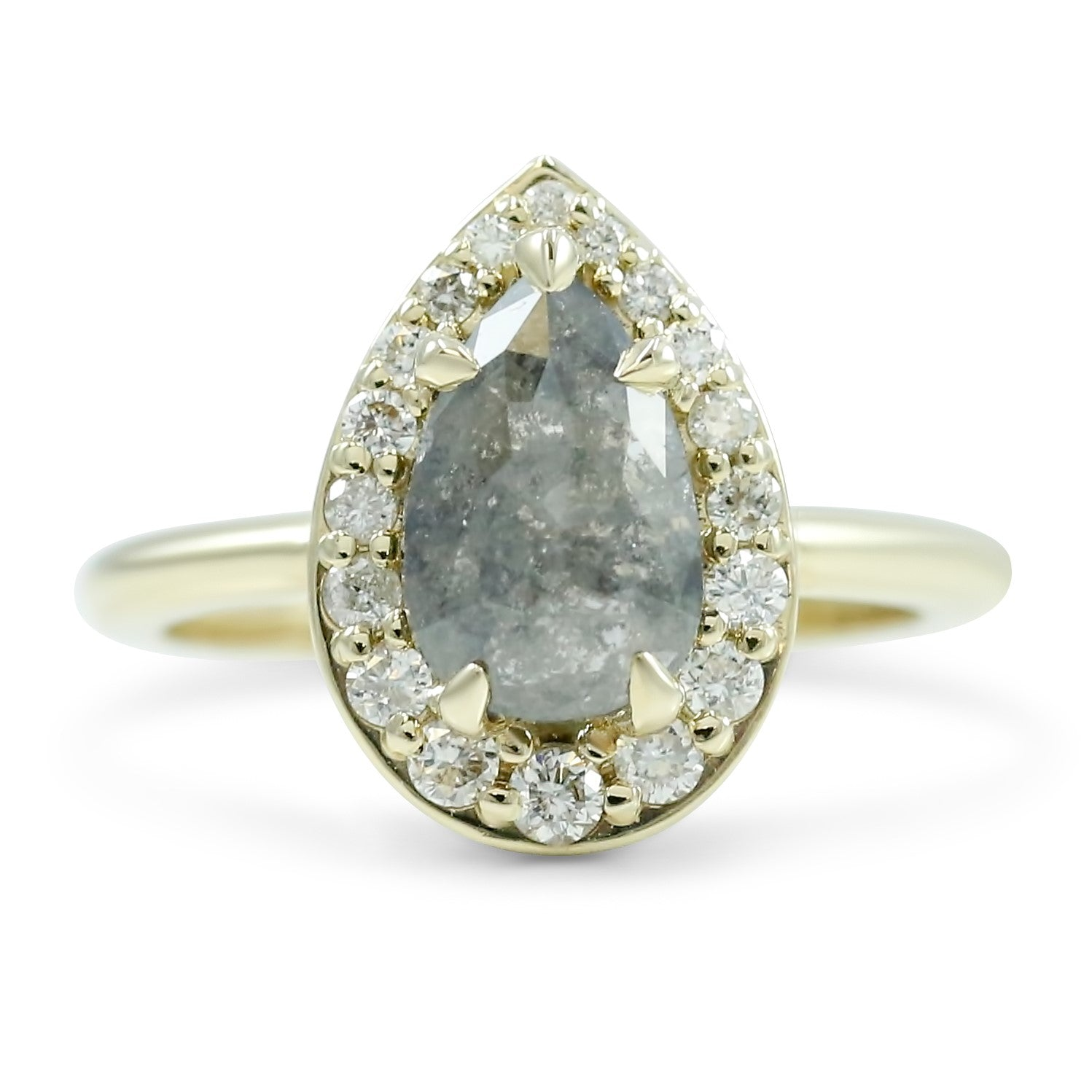 gray rose cut diamond engagement ring with white diamond halo 14k yellow gold