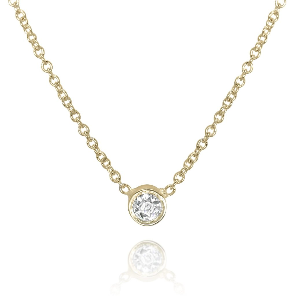 BEZEL SET DIAMOND NECKLACE WITH YELLOW GOLD CHAIN