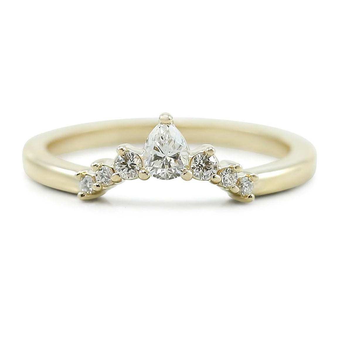diamond pear shaped contour wedding band available in yellow white or rose gold.
