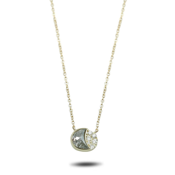 14k yellow gold 16in chain gray and white diamond crescent moon necklace