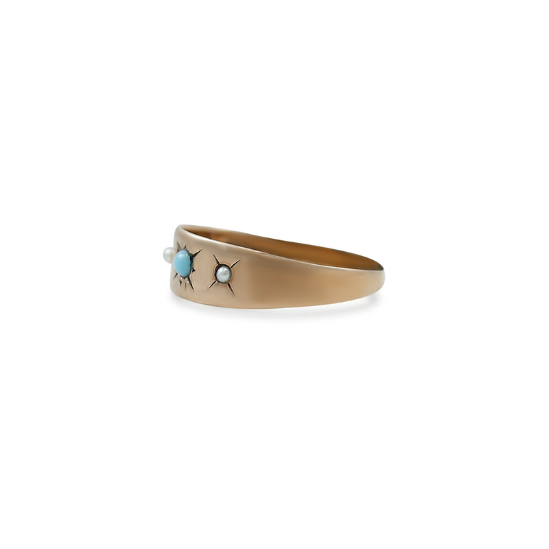 turquoise and pearl ring with yellow gold band estate ring