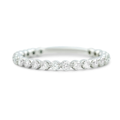 14k white gold diamond wedding band available in 14k yellow white or rose gold with round diamonds totaling 1.01ct 3/4 of the way around the band