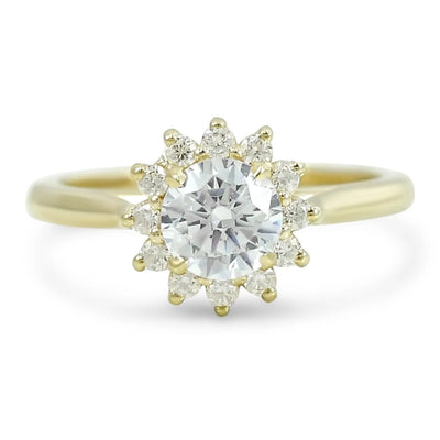 scalloped halo flower diamond engagement ring ready to ship prong set ring available in 14k yellow, white, rose and peach gold or platinum