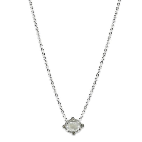 rose cut gray diamond necklace with recycled white diamond halo and white gold chain