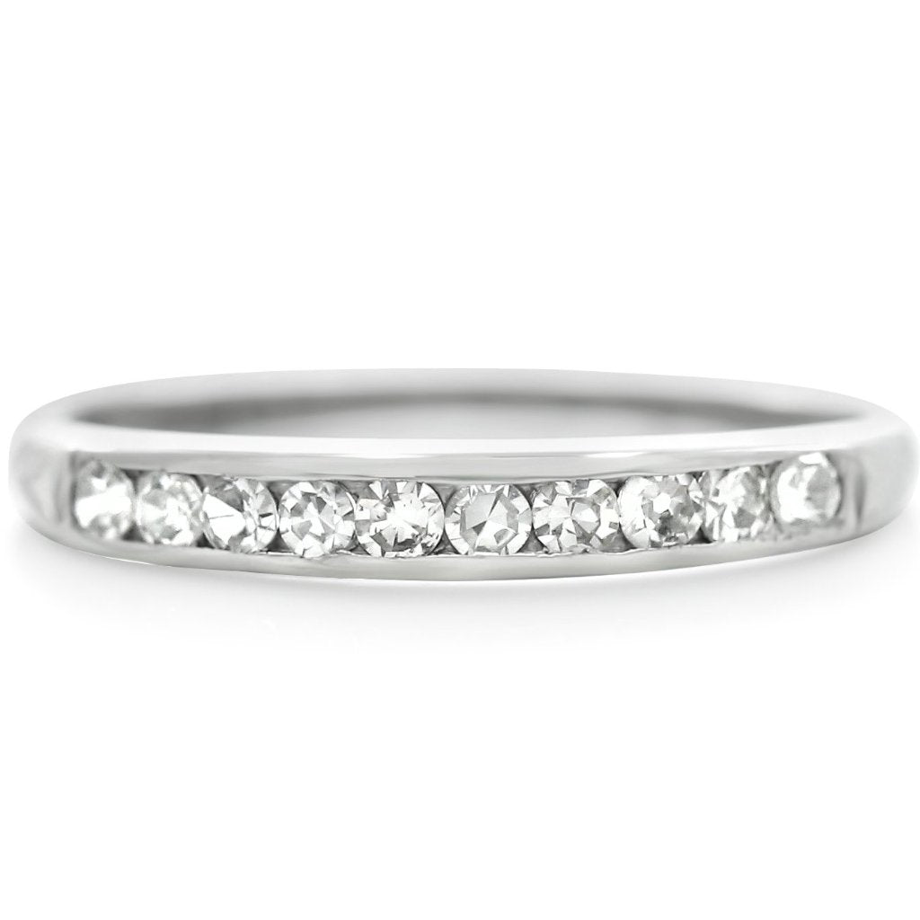 Platinum estate wedding band with single cut channel set diamonds from the 1930s