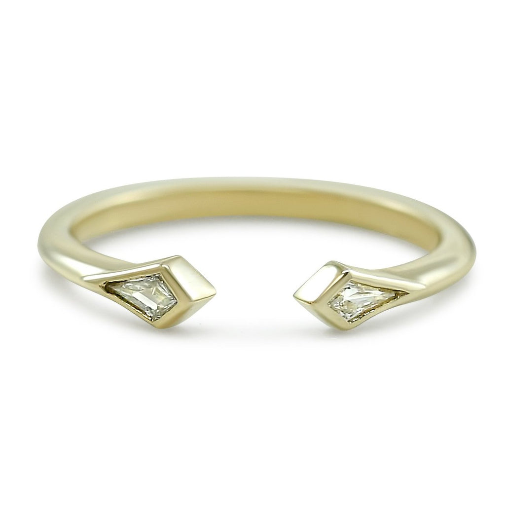 bezel set kite shaped diamond yellow gold wedding band