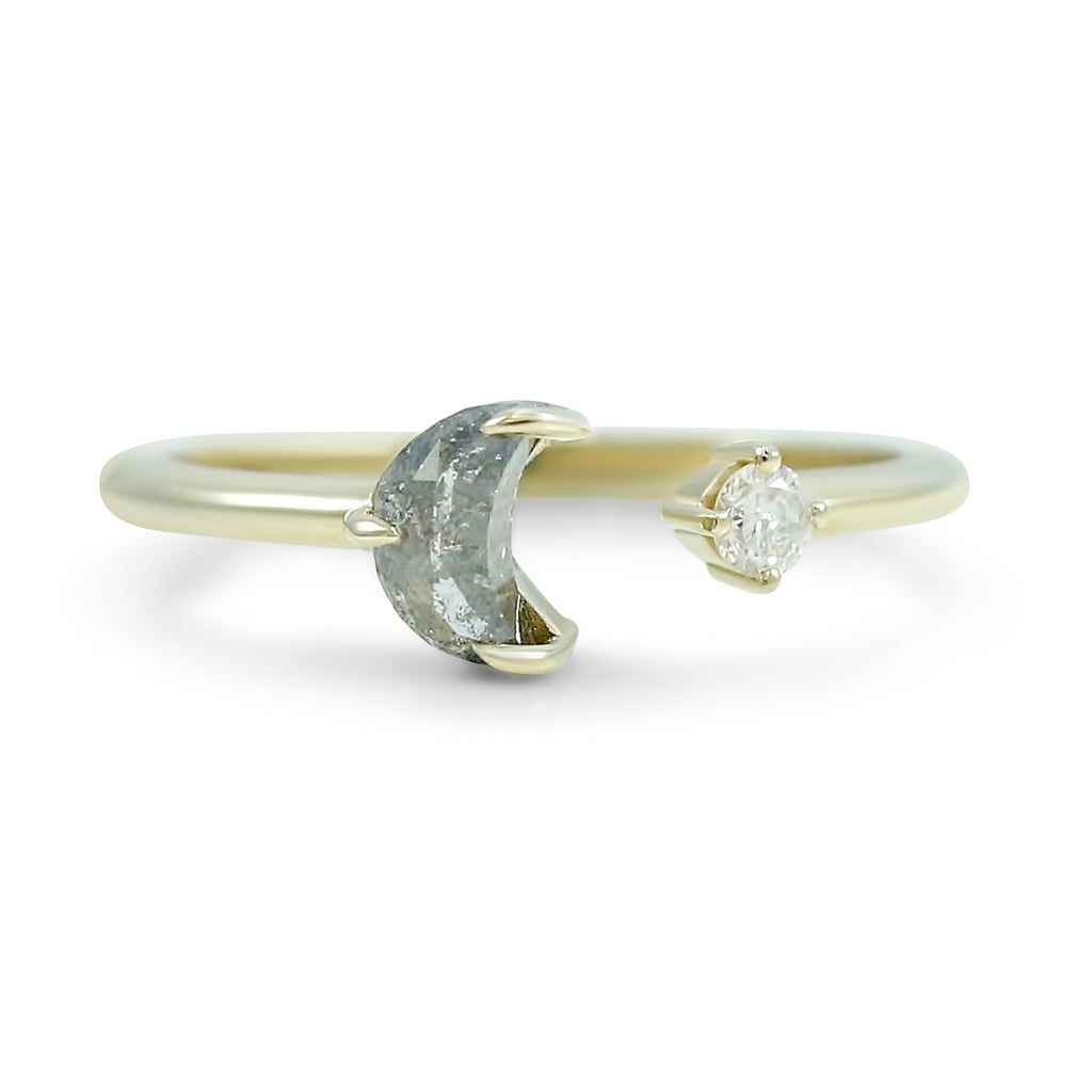 crescent moon shaped gray and white diamond open ring prong set in 14k yellow gold