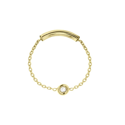 chain ring with a single white bezel set diamond available in yellow rose or white gold