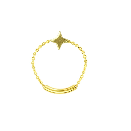 14k yellow gold star chain ring with sizing bar