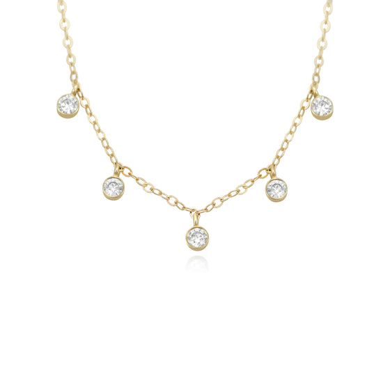 5 stone diamond necklace with a yellow gold chain