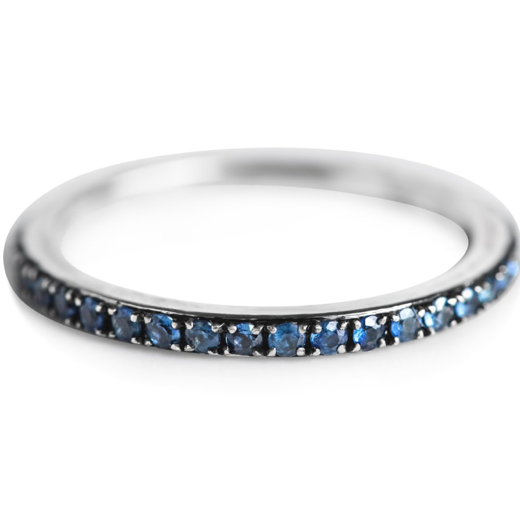 SAPPHIRE BLACK RODIUM FINISH GOLD WEDDING BAND OR STACK RING