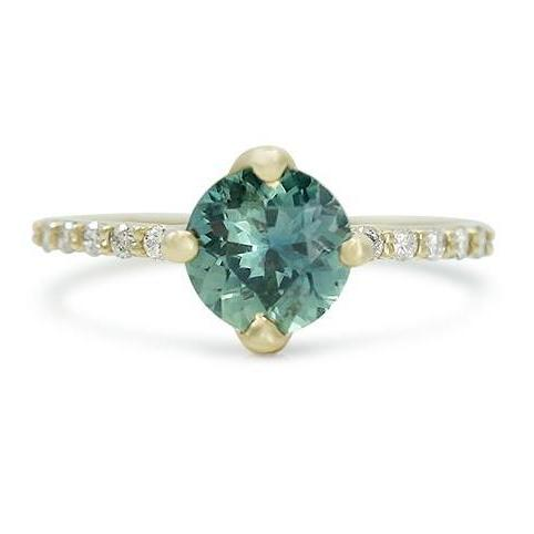 blue green Kenyan no-heat sapphire rings with white diamond on the 14k yellow gold band and prongs designed like leaves