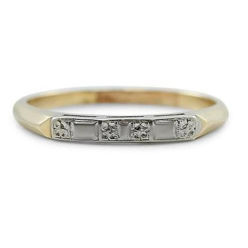 two tone estate wedding band with yellow and white gold