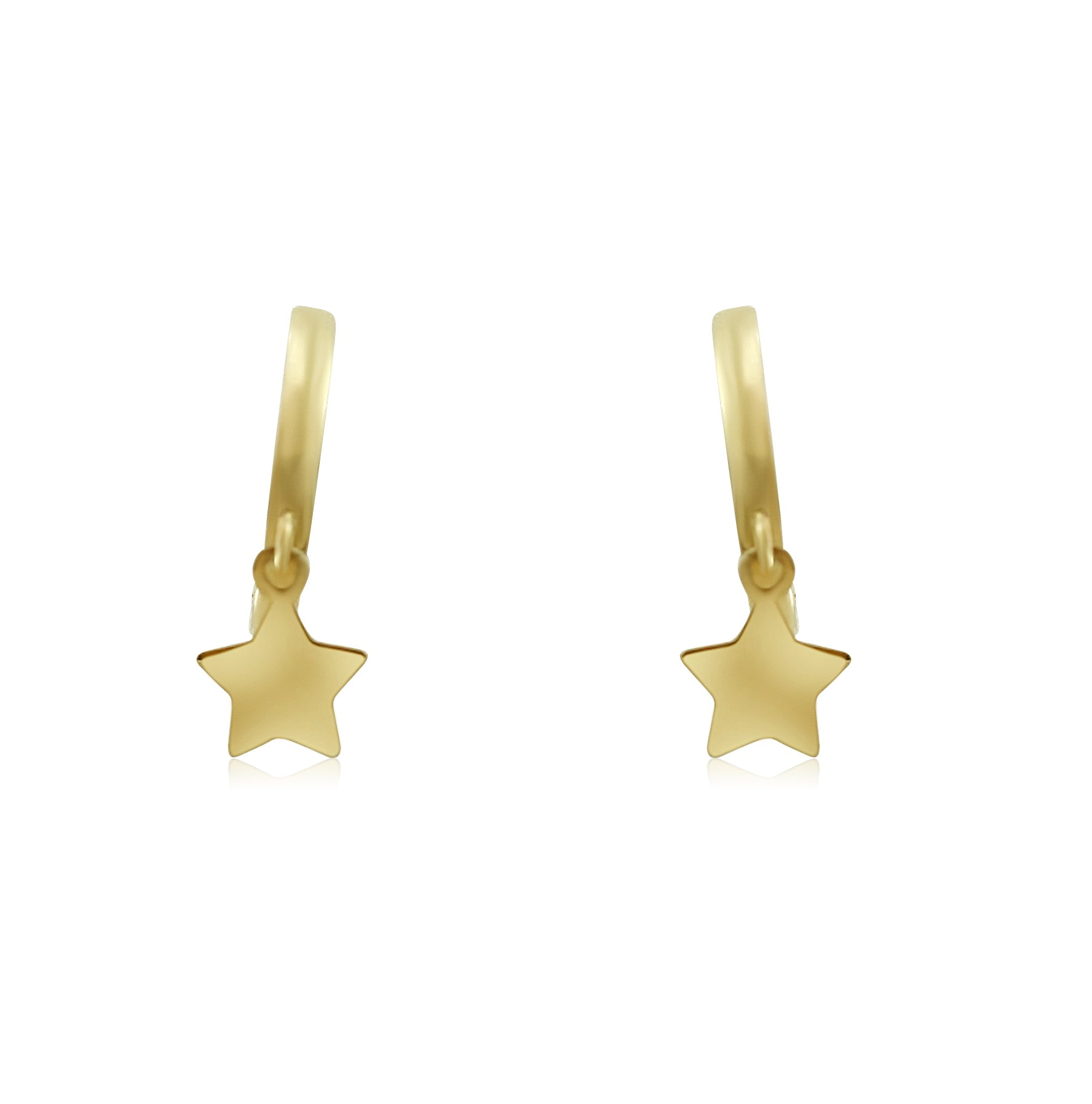 10mm 14k yellow gold lever back hoops with matching stars