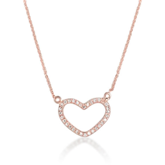 DIAMOND AND ROSE GOLD OPEN HEART NECKLACE