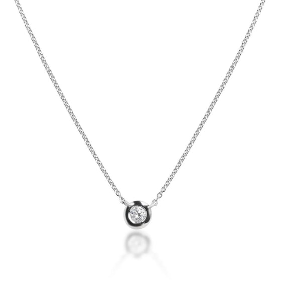 WHITE GOLD BEZEL SET DIAMOND NECKLACE