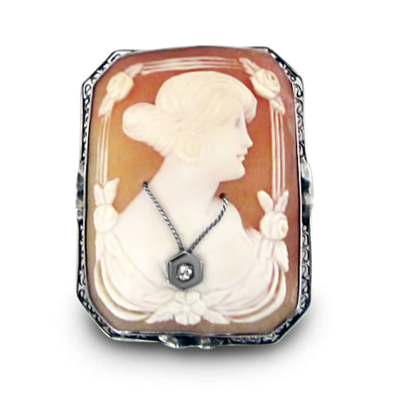 carved shell estate cameo pin with an old mine cut diamond can be worn as a pin or pendant 14k yellow gold