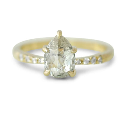 14k yellow gold pear shaped gray diamond engagement ring