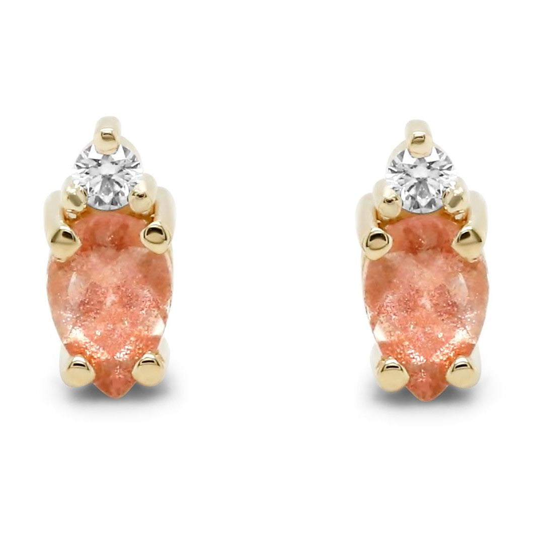 14k yellow gold oregon sunstone and diamond stud earrings under 500