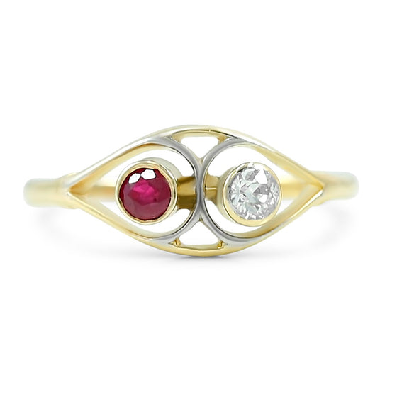 ruby and old european cut diamond estate ring with 18k yellow and white gold thin band