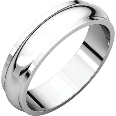 WHITE GOLD HALF ROUND EDGE ME'S WEDDING BAND 5MM WIDE