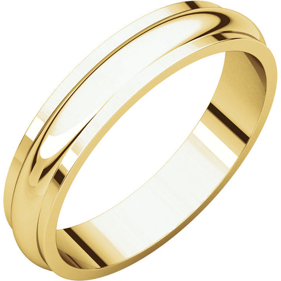 YELLOW GOLD HALF ROUND MEN'S WEDDING BAND 4MM WIDE