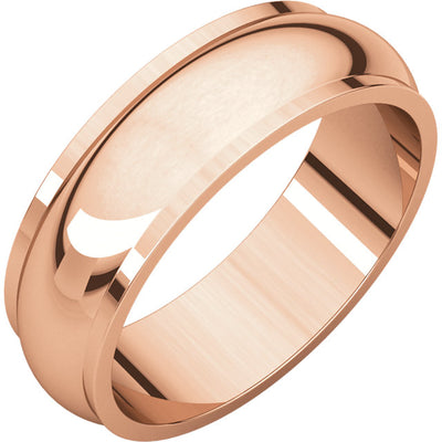 ROSE GOLD HALF ROUND EDGE MEN'S WEDDING BAND 6MM WIDE