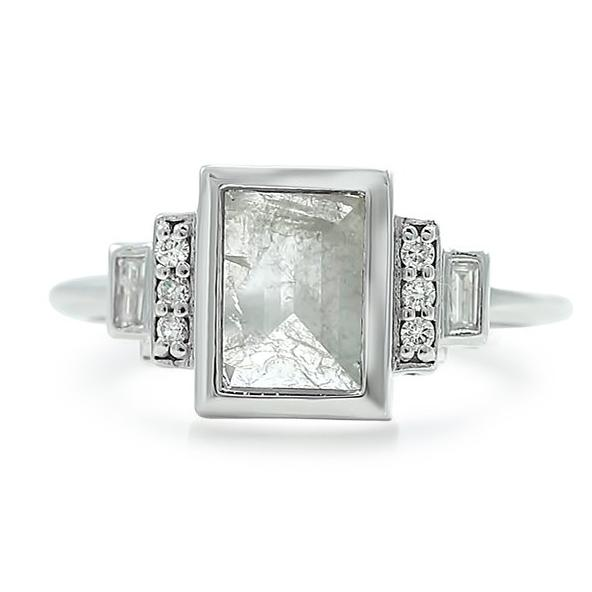rose cut square gray diamond ring with a white gold bad and round ad baguette diamonds on both sides