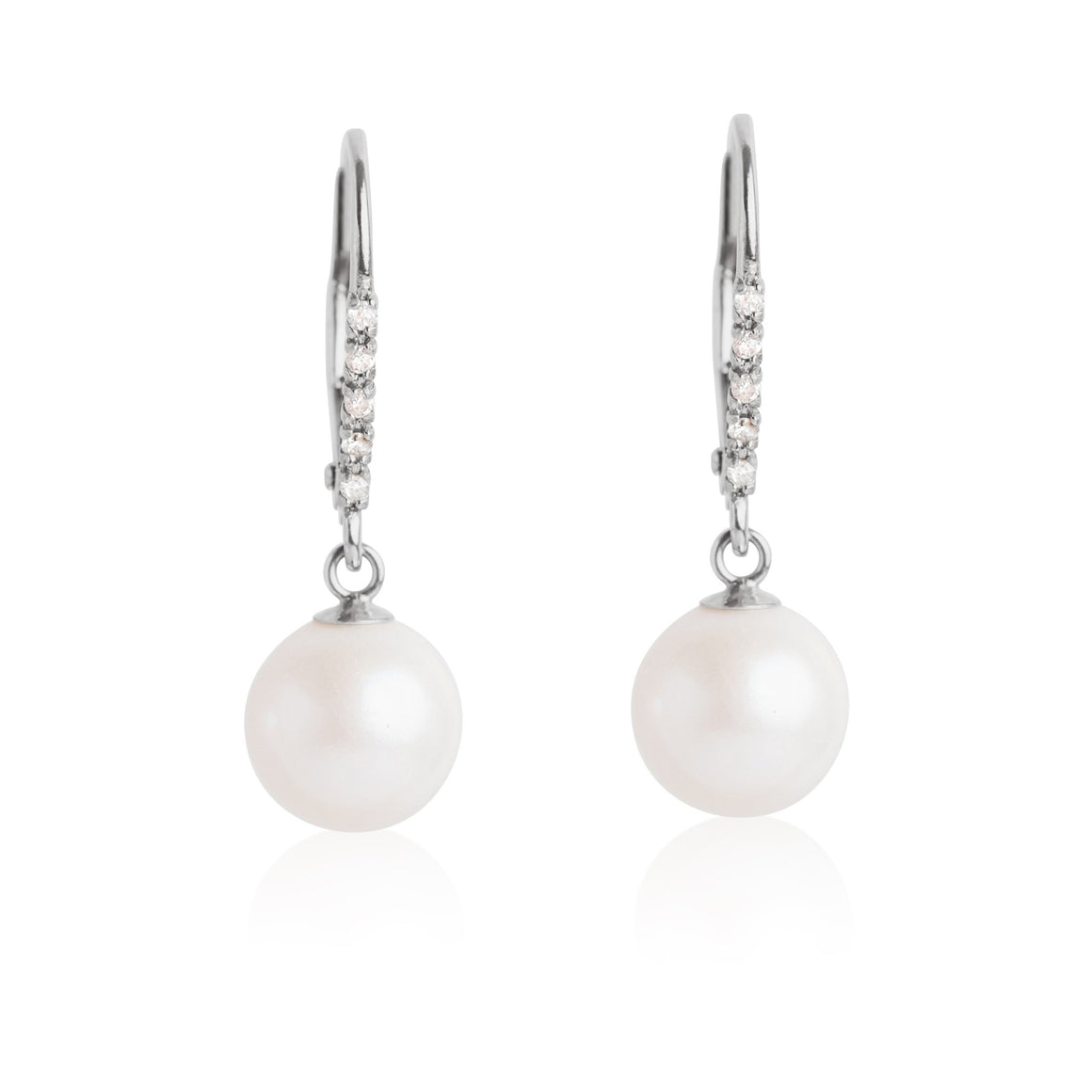 LEVERBACK PEARL DROP EARRINGS WITH WHITE GOLD AND DIAMONDS