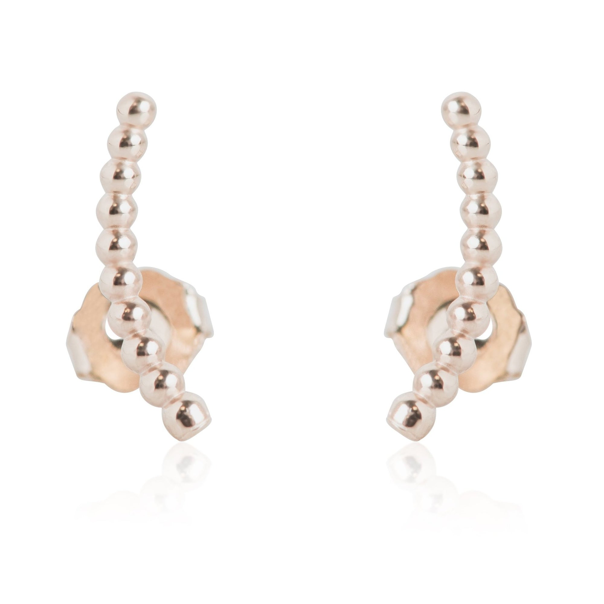 YELLOW OR ROSE GOLD BEADED EAR CLIMBERS STUD EARRINGS