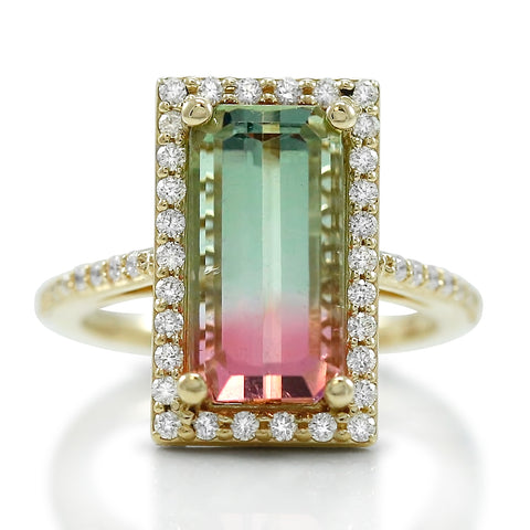 watermelon tourmaline and diamond halo ring with yellow gold band