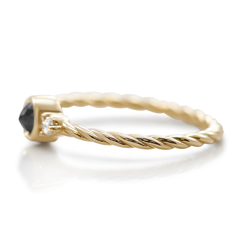 Black and white diamond stack ring with braided band