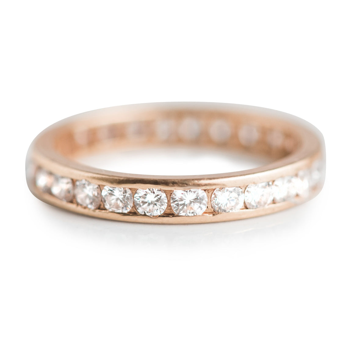 LARGE ESTATE ETERNITY BAND WITH WHITE DIAMONDS AND 18 KARAT YELLOW GOLD